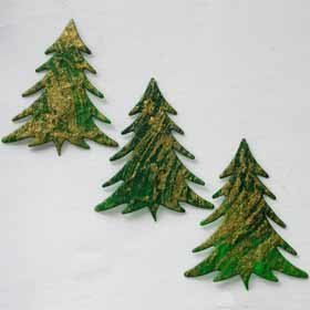 10 Large Tree with Gold Swirl Card Topper Embellishment
