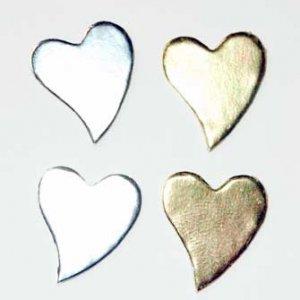 50 Gold and Silver Heart Diecut Card Topper Embllishment