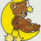 Bear and moon Faux Stained Glass Suncatcher Decal Cling