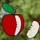 Apple Slice Faux Stained Glass Suncatcher Cling Decal