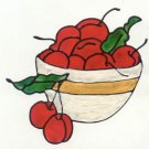 Cherry bowl Faux stained glass Window Cling suncatcher