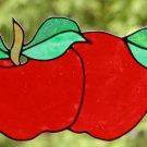 5 Apples Fauxed Stained Glass Window Cling Suncatcher Decal