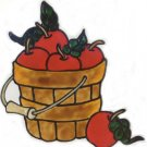 Basket of Apples Faux Stained Glass Window Cling Decal