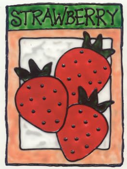 Strawberry faux Stained Glass Window Cling Suncatcher