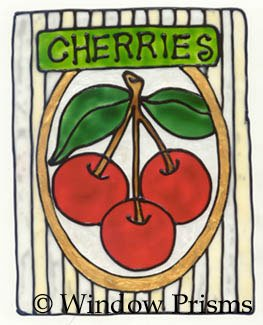 Cherries Faux stained Glass Window Cling Suncatcher Decal