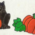 Black Cat and Pumpkin Faux stained glass Window cling