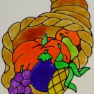 Cornucopia Faux Stained glass Window Cling