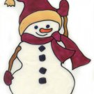 Mauve Snowman Stained Glass Window Cling suncatcher