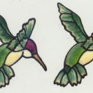 2 Green Hummingbird faux stained glass Window Cling Suncatcher