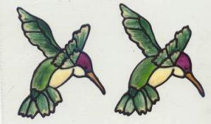 2 Green Hummingbird faux stained glass Window Cling Suncatcher