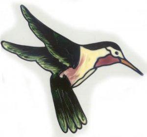 Dark Green Hummingbird Faux Window Decal Cling suncatcher