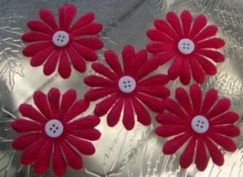 "5 Red Daisy 1 7/8"" Mulberry Flower w/ pollen center"