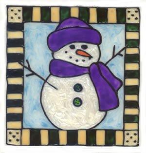 Snowman Faux Stained Glass Window Cling Suncatcher