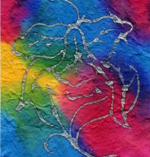 10 Batik with Flowers Heavy Mulberry Paper Tear Bear