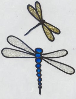 2 Glitter Dragonfly faux stained glass Window Cling