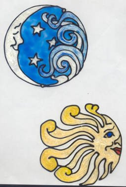 Sun and Moon Faux Stained Glass Suncatcher Decal