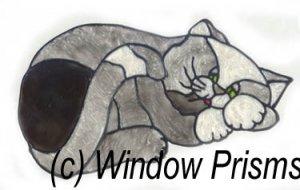 Sleeping Cat Stained glass Window Cling Suncatcher