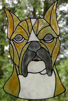 Boxer faux Stained Glass Window Cling Suncatcher