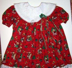 Christmas Santa Bears Dress 2T