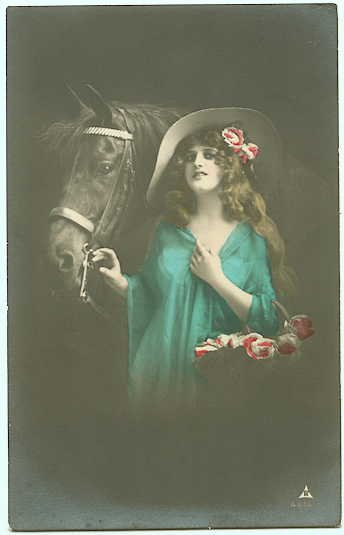 Tinted Real Photograph - Woman and Horse - 102