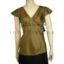 inadditions : New DUE PER DUE Silk Surplice Flutter Sleeves Top Shirt Blouse Women's 6 Petite 6P