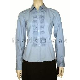 inadditions : New RAFAELLA French Blue Washed Poplin Pintucked Top Shirt Blouse Women's 8 Petite