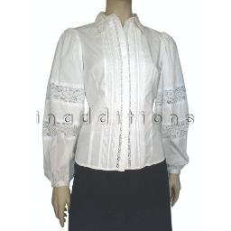 inadditions : New SUNNY LEIGH White Pintucked Lace Accent Top Shirt Blouse Women�s Petite Small