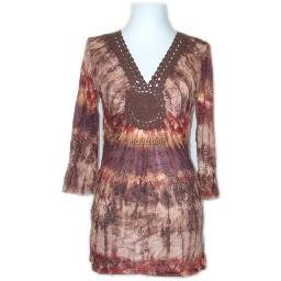 inadditions : New CHA CHA VENTE Crinkled Three-Quarter Sleeve Tunic Top Shirt Women's Small