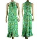 inadditions : New DONNA MORGAN Silk Jade Paisley Print Twist Neck Keyhole Dress Women's 8 Medium