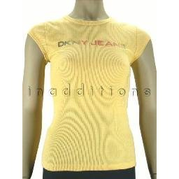 inadditions : New DKNY JEANS Glitter Logo Cap Sleeve Ribbed Cotton Tee Shirt Top Juniors Medium