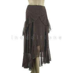 inadditions : New MAX STUDIO M Sheer Lined Pull-On High Low Tiered Flounce Skirt Women's Large
