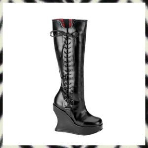 "BRAVO-100 5"" Platform Wedge Knee Boots Demonia Gothic Punk 6"