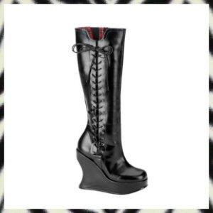 "BRAVO-100 5"" Platform Wedge Knee Boots Demonia Gothic Punk 7"