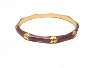 TRENDY CELEBRITY PURPLE ENAMEL BAMBOO BANGLE BRACELET