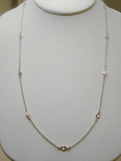 "STERLING 24"" DIAMOND SIMULATED BY THE YARD NECKLACE"