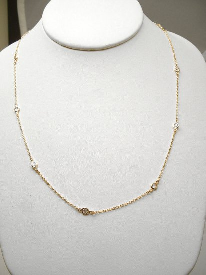 "GOLD VERMEIL 24"" DIAMOND SIMULATED BY THE YARD NECKLACE"