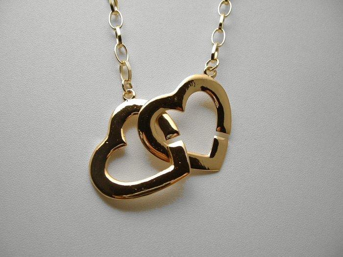 "TRENDY CELEBRITY DOUBLE HEART GOLDTONE NECKLACE 24"""