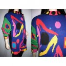 90s Jazz Style Designer Knit Multi Color Pullover Sweater Tunic/Mini Dress by Lisa Nichols, L/XL