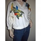 Vintage 80s Artsy Pullover Jersey Top with Appliqued Satin/Sequins Feathers - Size Small S