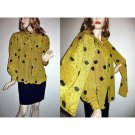 Vintage Crepe De Chine Blouse Loose Gathered Fit/Huge Long Puffed Sleeves WIDE Attached Scarf