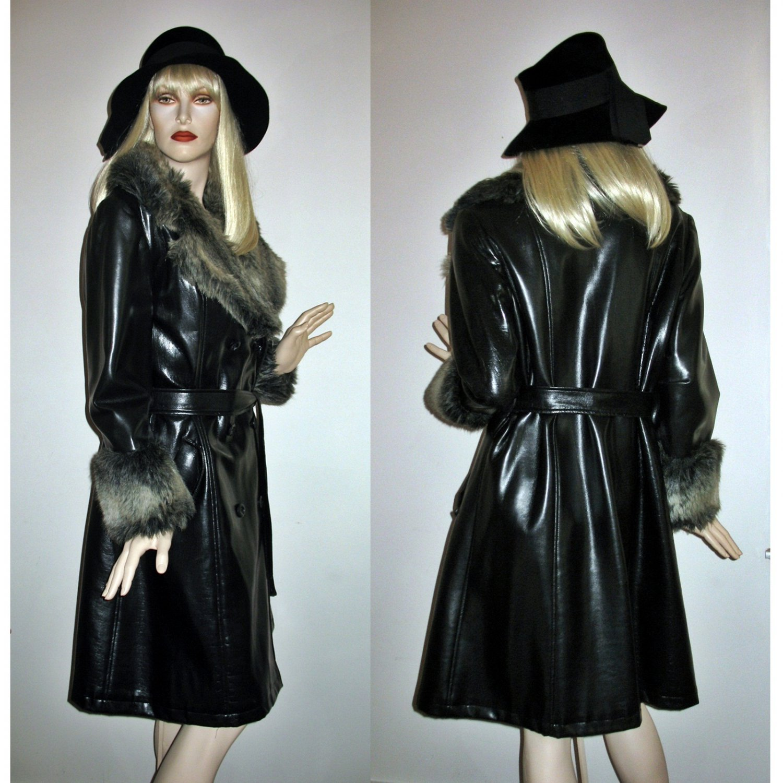 Vintage 60s 70s Trench Coat Black Pvc Faux Leather Fur