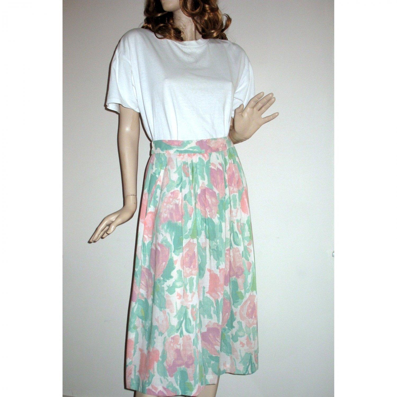 Vintage Skirt Casual Lightweight  Pastel Florals Vintage 80s - Size Large