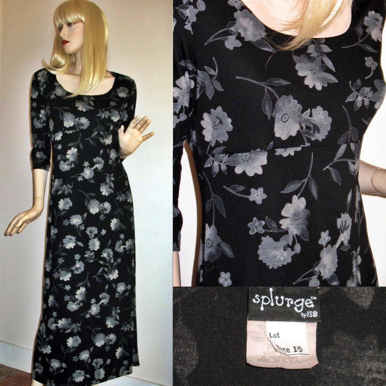 Vintage 70s Black Florals Minimalist Long Jersey Dress -Medium