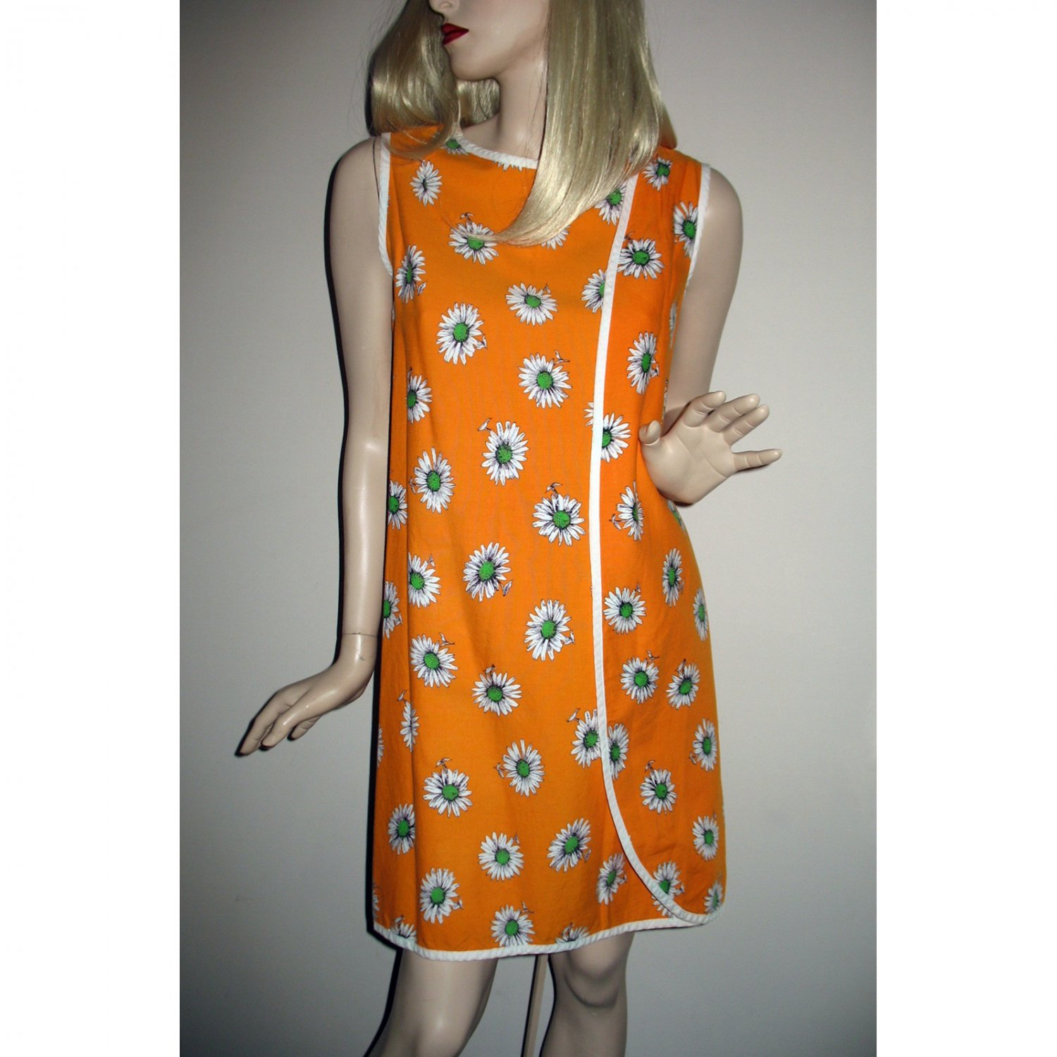 Authentic Vintage 1960s Three Armhole Wrap Around Mod Mini Dress S/M