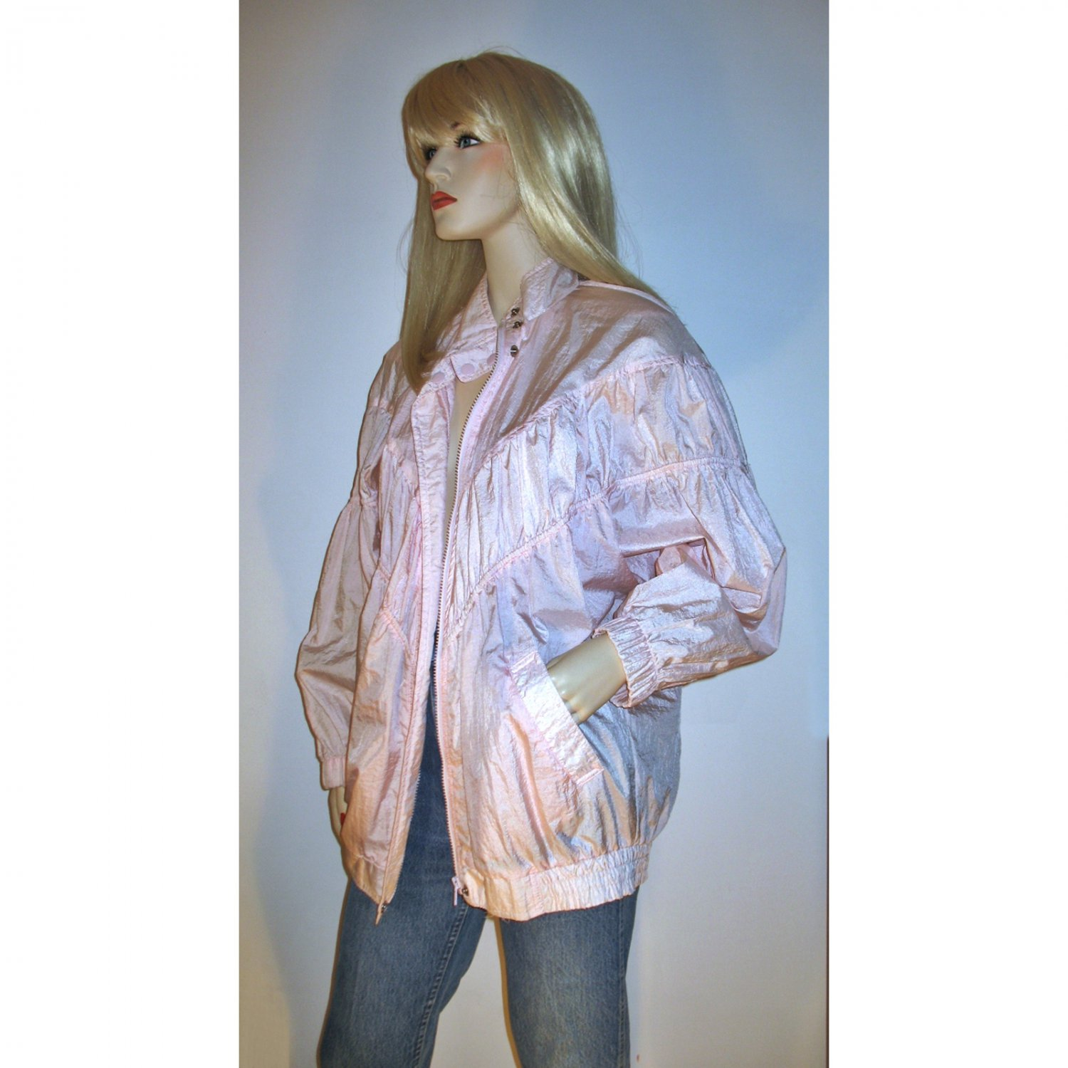 Vintage 80s Lightweight Pink Windbreaker Bomber Jacket Shirred Puffed Sleeves M-L