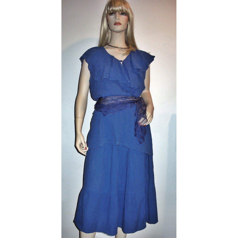Vintage 70s Hippie Boho Festival Blue Gauze Dress 2-Pc Flounced Top/Skirt - Medium