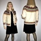 Vintage Fair Isle Cream Wool Cardigan Sweater made in Norway XS/Extra Small