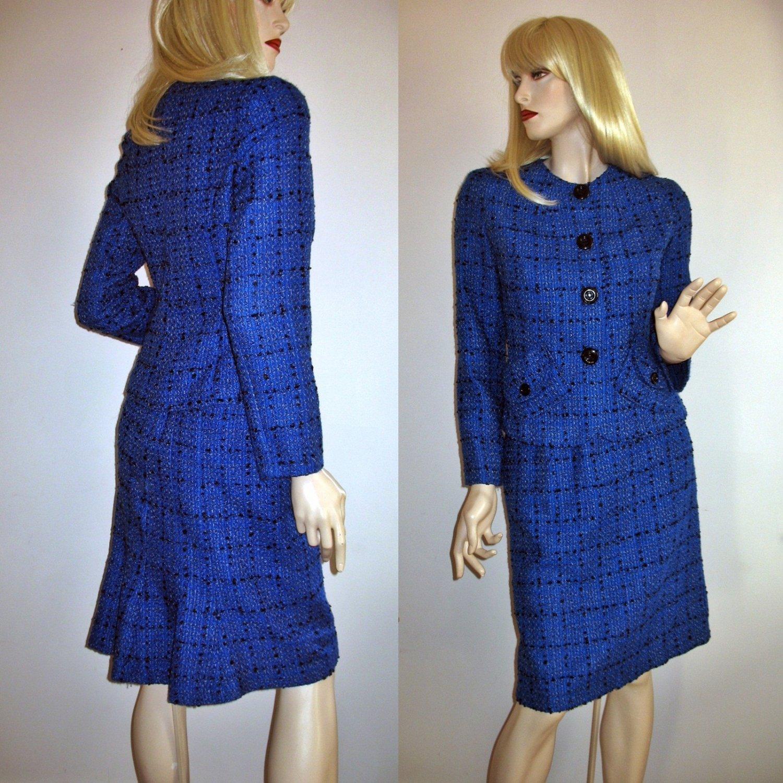 Vintage Tweed Royal Blue Suit 2-piece Power Suit 60s Look  - Small