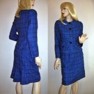 Vintage Tweed Royal Blue Suit 2-piece Power Suit 60s Look  - Small