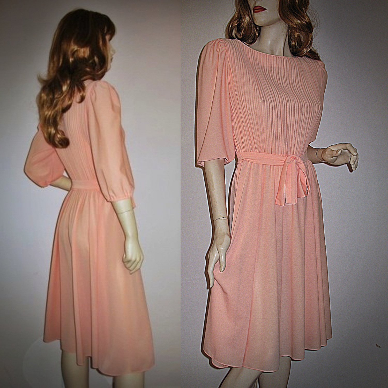 Vintage 70s Disco Dress Sheer Crepe Cystal Pleated Bodice Small S